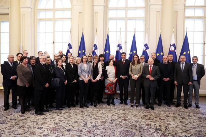 Ljubljana, predsedniska palaca. Predsednik republike Borut Pahor je sprejel clane Nacionalnega odbora za obelezitev 100-letnic 1. svetovne vojne (2014-2018).