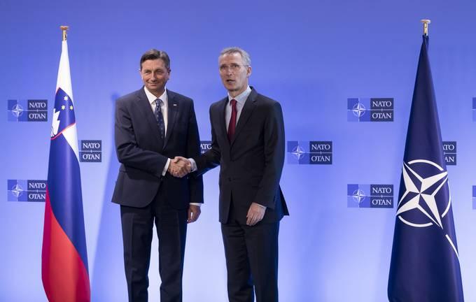 Belgija, Bruselj. Obisk predsednika republike Boruta Pahorja v Bruslju. Srecanje z generalnim sekretarjem Nata Jensom Stoltenbergom.