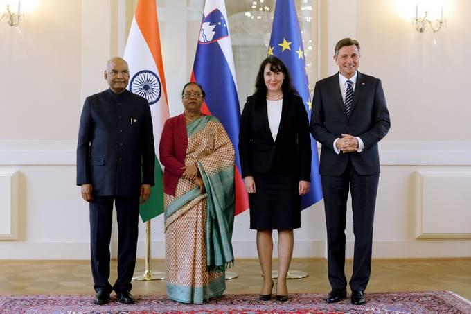 Ljubljana, Predsedniska palaca. Obisk indijskega predsednika Rama Natha Kovinda v Sloveniji. Fototermin predsedniskih parov.